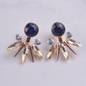 Henri Bendel Blue Crystal Fan|shaped Earrings
